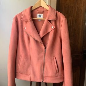 Old Navy Dusty Rose Faux Suede Assym Moto Jacket